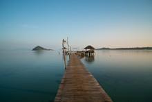 Wooden Pier Between Sunset In ...