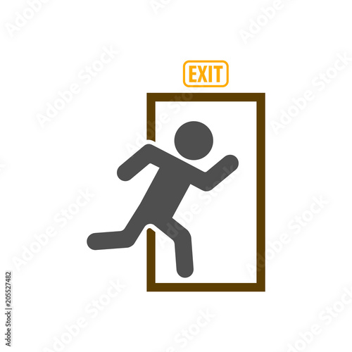Leinwand Poster Exit icon, emergency exit symbol