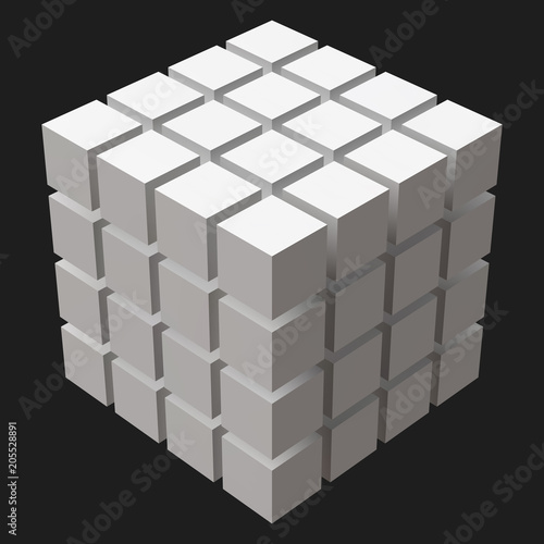 Fototapeta big cube with cubic cuts