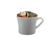 Cup With Coins For Tips Isolat...