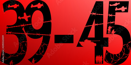 Poster  Seconde Guerre Mondiale 39-45 Rouge