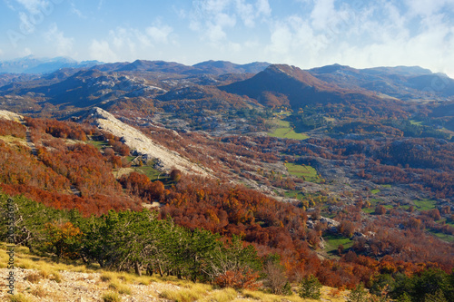 Fotobehang Diepbruine Beautiful autumn mountain landscape. Montenegro, view of Lovcen National Park