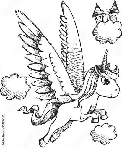 Fotobehang Cartoon draw Doodle Sketch Unicorn Pegasus Vector Illustration Art