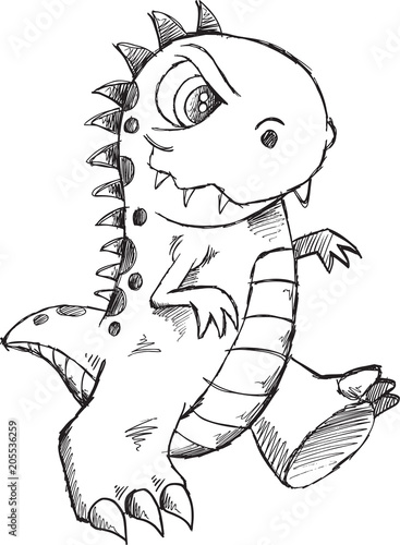 Poster Cartoon draw Doodle Sketch Monster Vector Illustration Art