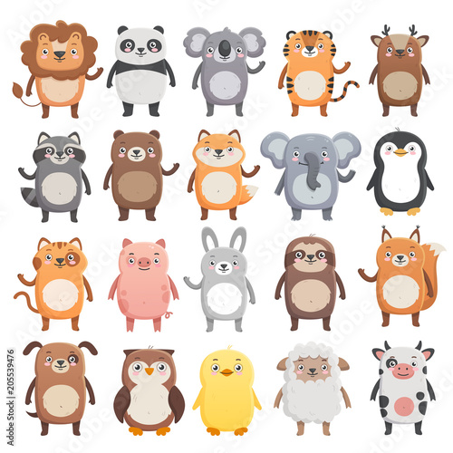 Big set of cute smiling animals. Lion, panda, koala, tiger, bear, pig, fox, sloth, raccoon, cat, cow etc. Simple flat style, isolated vector illustrations on white background.