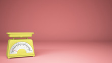 Kitchen Yellow Empty Weigh Scales, On Pink Background Copy Space, Measuring Diet Food Concept Idea