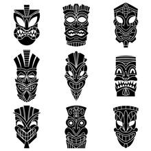 Tribal Tiki Mask Black Silhouettes Vector Set. Flat Icons Isolated On White Background.