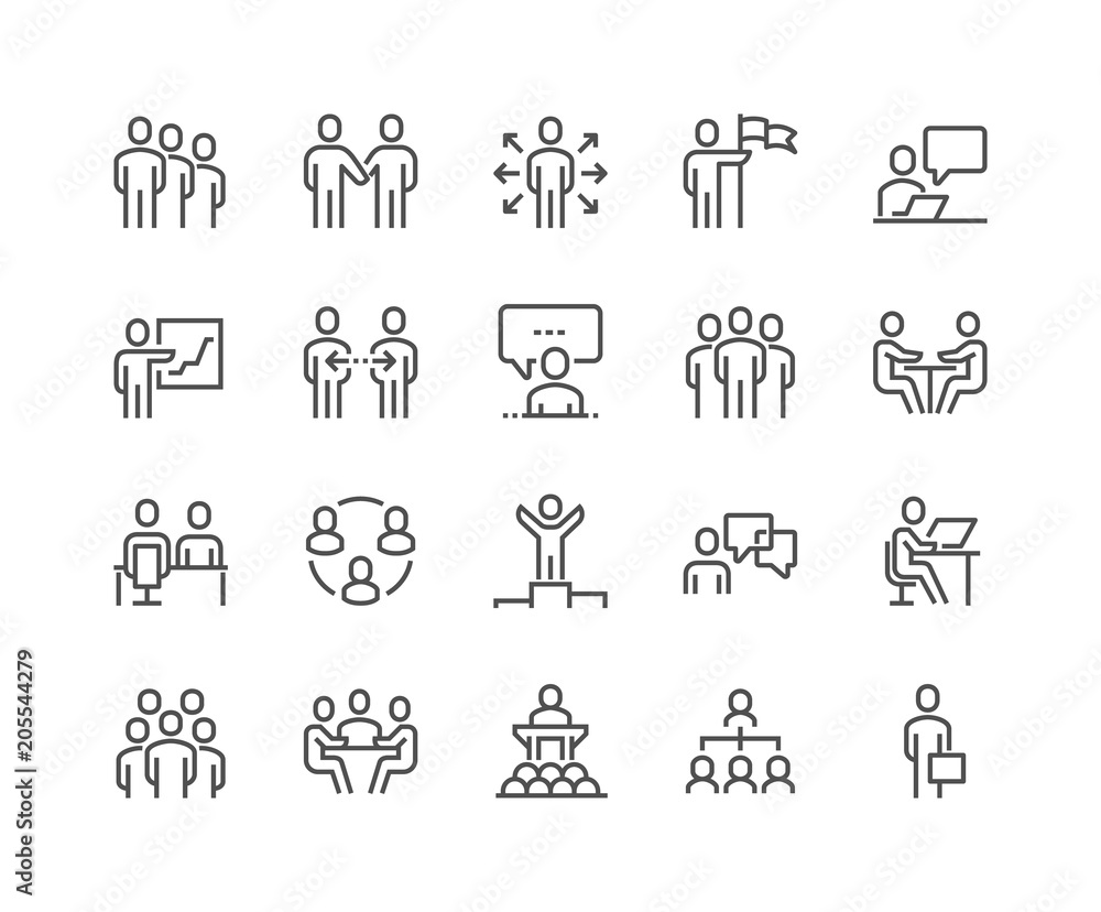Fototapety, obrazy: Line Business People Icons