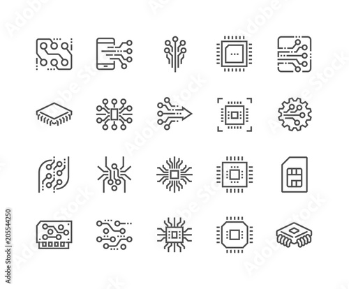 Fotomural  Line Electronics Icons