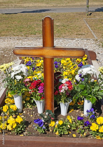 Wooden Cross On The Tomb In The Public Cemetery Buy This Stock