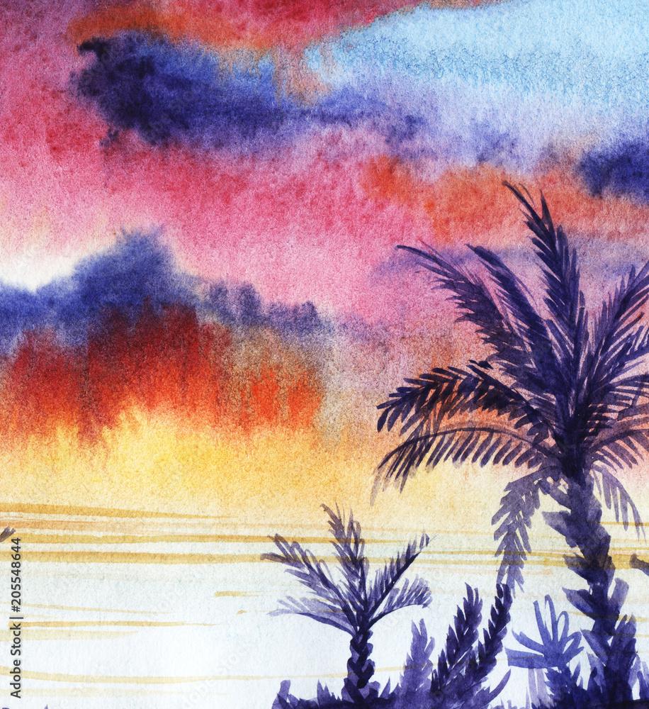 Tropikalny krajobraz z fioletowe sylwetki palm i zachód słońca. Ręcznie rysowane akwarela ilustracja na papierze