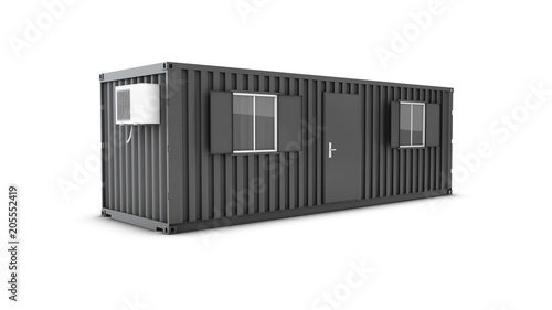 Photo Converted old shipping container into building office, 3d Illustration isolated