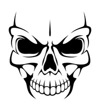 Angry Skull On A White Backgro...