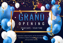 Grand Opening Invitation Concept With Blue White Balloons. Celebration Design. Gold Glitter Letters On Abstract Background With Light Effect And Bokeh.