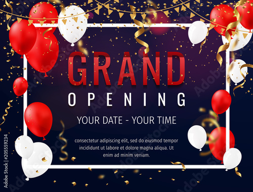 Fotografía  Grand opening invitation concept with red white balloons