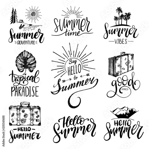 Staande foto Positive Typography Vector set of hand lettering with summer motivational phrases and sketches. Calligraphy inspirational quotes collection.