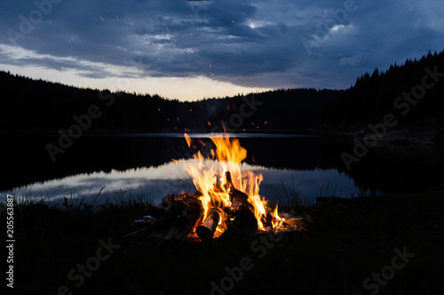 Vászonkép Campfire in the moutnains after sunset