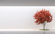 Leinwanddruck Bild - Minimal style garden in modern space 3d render.The white room has sunlight from the top, decorated with red trees.