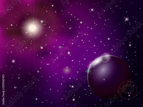 Spoed Foto op Canvas Violet Abstract universe with purple stars and planet. Vector illustration.