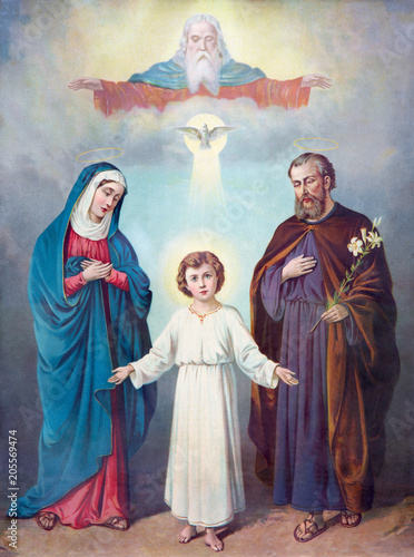 Carta da parati SEBECHLEBY, SLOVAKIA - FEBRUARY 27, 2016: Typical catholic image of Holy Family and Trinity (in my own home) from the end of 19
