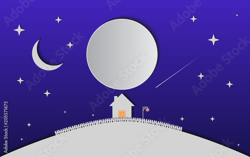 Spoed Foto op Canvas Violet House on snowy hill in paper cut trendy craft cartoon style. Christmas, new year modern design for advertising, branding background greeting card, cover, poster, banner. Vector illustration.