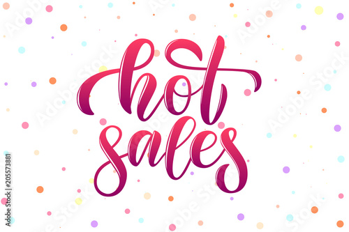 Fotografía  vector calligraphy phrase hot sales for banner icon tag card promotion of woman