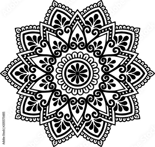 Mandala pattern black and white Wallpaper Mural