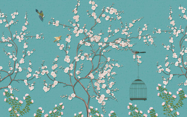 FototapetaChinese paintings of plum blossoms and birds Blue background picture