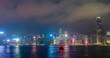 Aerial tNight imelapse of illuminated Hong Kong skyline. Hong Kong, China
