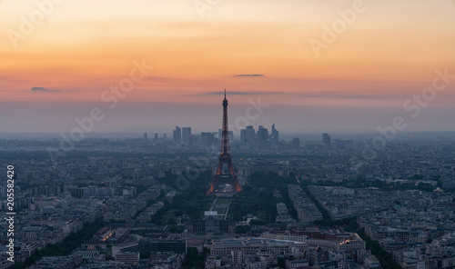 Keuken foto achterwand Nasa Skyline of Paris with Eiffel Tower at sunset in Paris, France. Eiffel Tower is one of the most iconic landmarks of Paris. Postcard of Paris