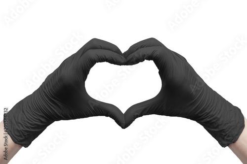 Fotografija  Heart made of black medical gloves