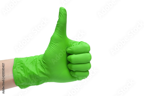 Fotografia, Obraz  Like sign icon made of green medical gloves
