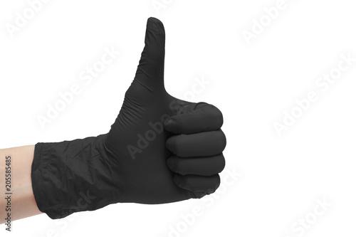 Fotografia, Obraz  Like sign icon made of black medical gloves