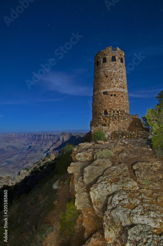 Obraz na plátne A 102-second exposure of the Watchtower in the Grand Canyon under a starry night sky