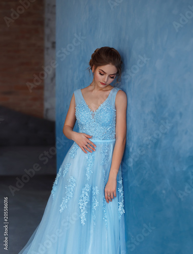 Young Blonde Girl In A Luxurious Blue Dress With Tulle And Lace