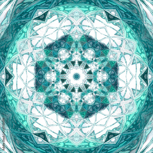 Photo  abstract teal triangle mandala on white background