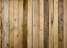 Old Weathered Wood Surface With Vertical Boards Lined Up. Wooden Planks On A Wall Or Floor With Grain And Texture. Dark Natural Brown Tones With Contrast. Wooden Floor Or Wall Built Of Reclaimed Wood.