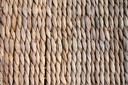 Obraz Background texture of beige or straw colored wicker or seagrass - fototapety do salonu