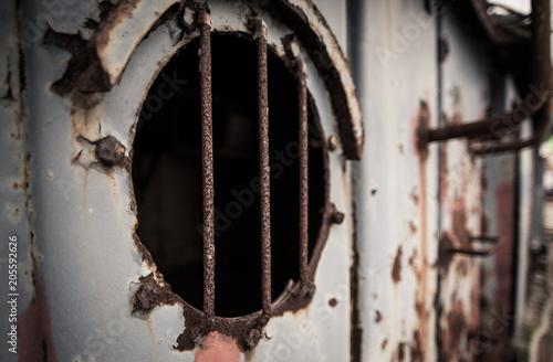 Keuken foto achterwand Schip Closeup of rusty texture around old porthole on boat at Coromandel Harbour New Zealand