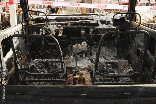 Photo  Fire damage of the interior of an SUV vehicle.
