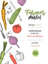Vegetables Farmer Market Sketch Poster. Vector Design Template Of Fresh Veggies And Natural Farm Organic.