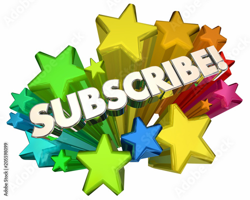 Subscribe Stars New Service Subscription 3d Render Illustration Fototapet