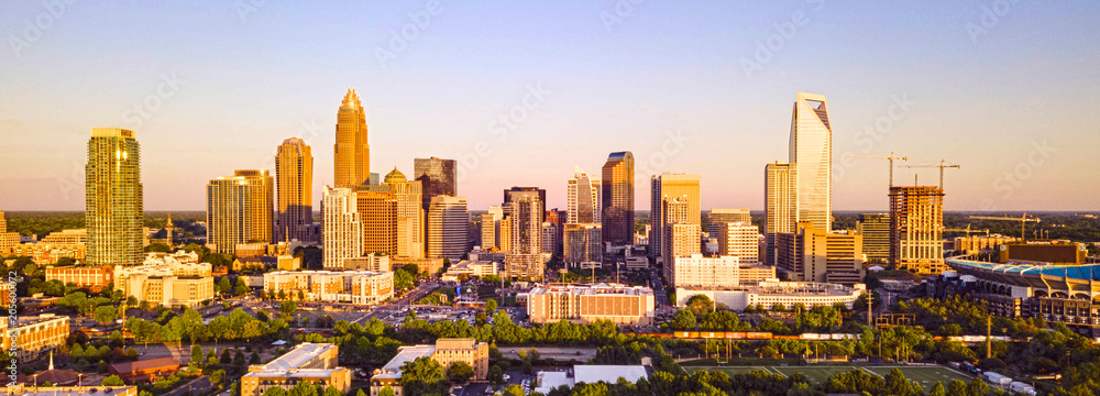 Fototapety, obrazy: Aerial Fly in Over Charlotte North Carolina Downtown City Skyline