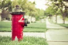 Neighborhood Red Fire Hydrant Vintage Look