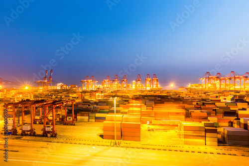 Foto op Canvas Poort shanghai container terminal at night
