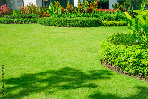 In de dag Groene Landscaped Formal Garden, Front yard with garden design, Peaceful Garden