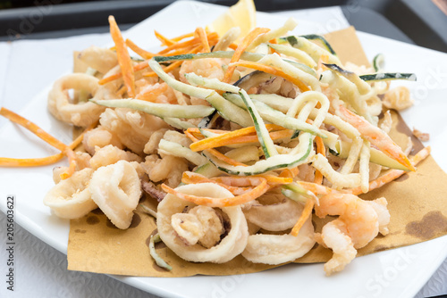 Fototapeta Mixed fried fish and vegetables obraz