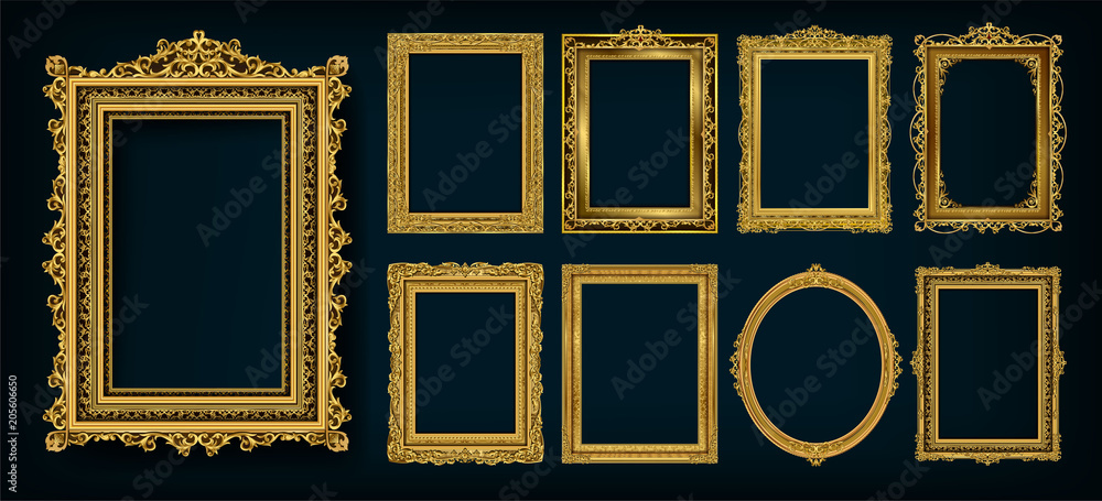 Stampa su Tela  Set of invitation golden and green royal frame photo design