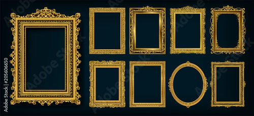 Stampa su Tela  Set of invitation golden and green royal frame photo design