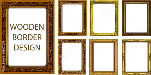 Stampa su Tela  Set of Decorative vintage frames and borders set,Gold photo frame with corner Th